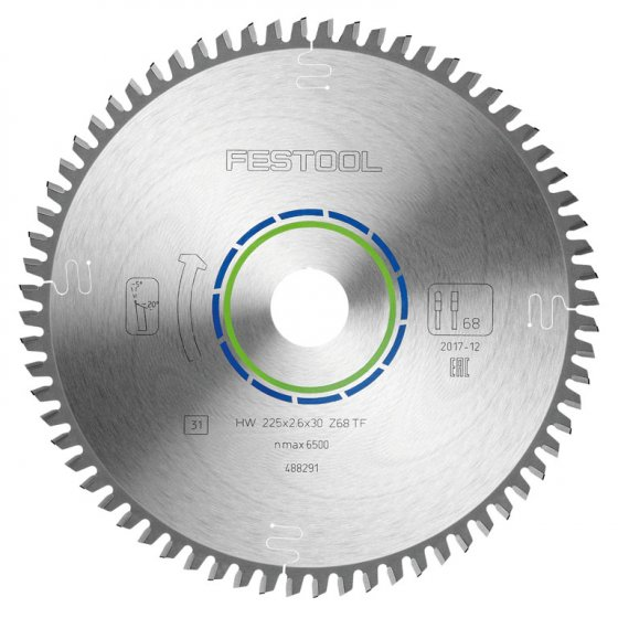 FESTOOL 488291 SPECIAL SAW BLADE 225MM X 2.6 X 30 TF68