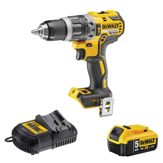 DEWALT DCD796P1-GB 18V LI-ION XR BRUSHLESS COMBI DRILL WITH 1 X 5.0AH BATTERY