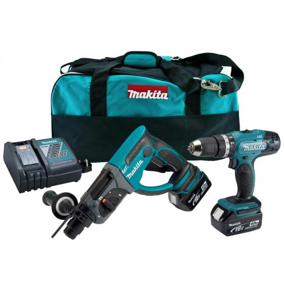 Makita DLX2025M 18v 2 x 4.0Ah LXT Combi SDS Hammer Drill Twin Kit