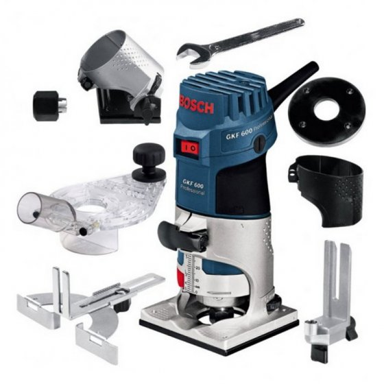 "BOSCH GKF600 1/4"" PALM ROUTER / TRIMMER WITH ACCESSORIES"