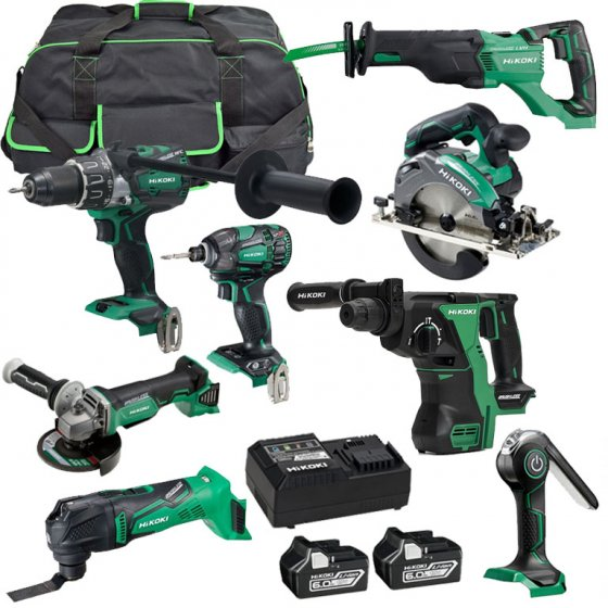 HIKOKI KTL818BL2JAZ 18V BRUSHLESS 8 PIECES KIT WITH 2X6.0AH BATTERIES & WHEELED TOOL