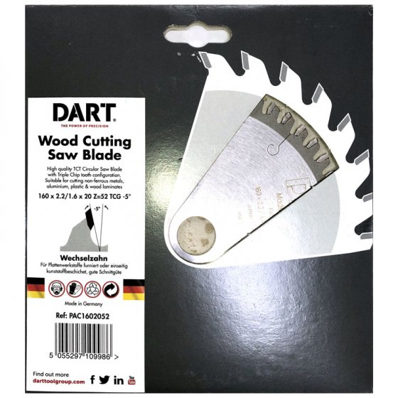 DART PAC1602052 160MM SAW BLADE 52T 20B (160X20X52T)