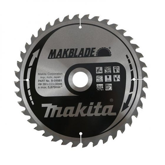 MAKITA B-08981 260X30MM 40Z MAKBLADE MITRE SAW BLADE