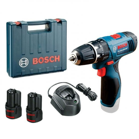 BOSCH GSB12LI 12V 2X1.5AH COMBI DRILL WITH L-BOX STORAGE CASE