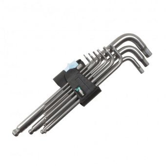 WERA 3950/PKL/9 HEX KEY SET 9 PIECE CLIP STAINLESS STEEL BALLPOINT (1.5 - 10MM)
