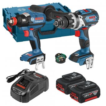 BOSCH GSB18V-85C + GDX18V-EC 18V LI-ION BRUSHLESS TWIN PACK WITH 2 X 5.0AH BATTERIES AND CONNECTIVITY MODULE
