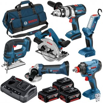 BOSCH 0615990L1M 18V CORDLESS 6 PIECE KIT WITH 3X4.0 AH BATTERIES, CHARGER AND LARGE HEAVY DUTY TOOL BAG