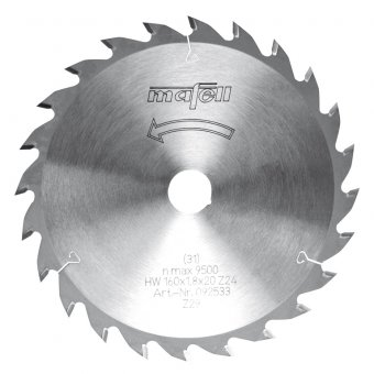 Mafell 160mm x 20mm TCT Wood Saw Blade - 24Z