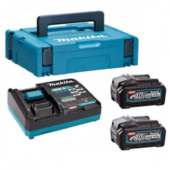 MAKITA 191K01-6 40V MAX XGT POWER SOURCE KIT WITH 2X4.0AH BATTERIES, CHARGER AND MAKPACK CASE