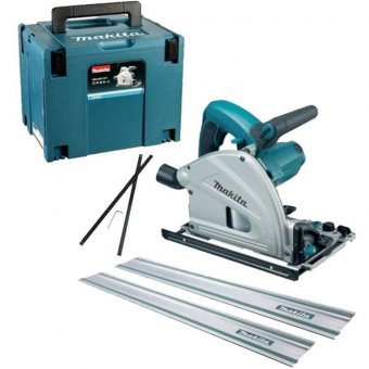 MAKITA SP6000J 165MM PLUNGE SAW KIT WITH 2 X 1.5M GUIDE RAIL AND GUIDE RAIL CONNECTORS (110V)