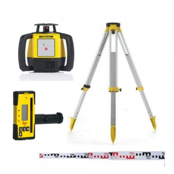LEICA (ALKALINE) RUGBY 610 OUTDOOR LASER LEVEL KIT WITH ROD EYE 160 RECEIVER
