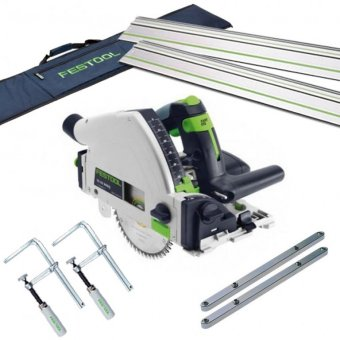 FESTOOL TS55 REQ-PLUS PLUNGE SAW WITH 2x FS/1400 1.4M GUIDE RAIL, 2x CONNECTORS, 2x CLAMPS + RAIL BAG (712658/712657)