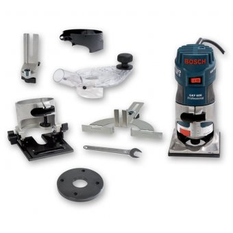 "BOSCH 110V GKF600 1/4"" PALM ROUTER / TRIMMER WITH ACCESSORIES"