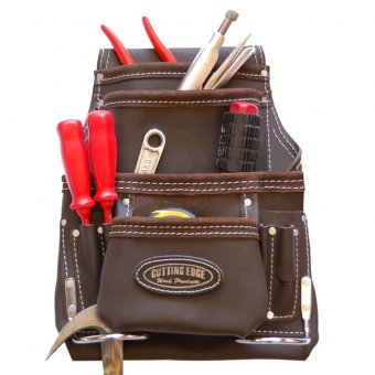 Cutting Edge 10 Pocket Tool Pouch - Brown Oil Tan Leather
