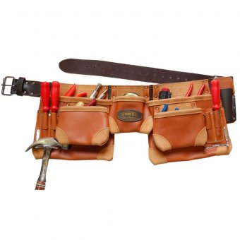 ASTRA CUTTING EDGE AST-CEOTSP11P 11 POCKETS SPLIT OIL TAN LEATHER NAIL AND TOOL POUCH/APRON