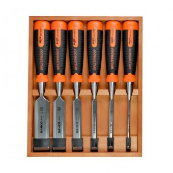 BAHCO 434S6 6 PIECE BEVEL EDGE WOOD CHISEL SET