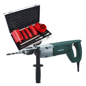 METABO BDE1100 1,100W ROTARY DIAMOND DRILL WITH METABO 5 PIECE DIAMOND CORE SET