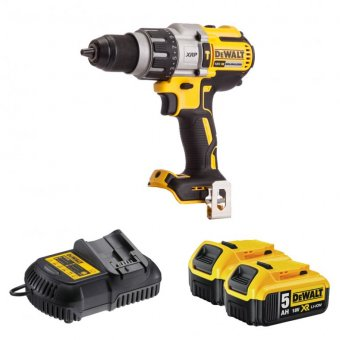 DEWALT DCD996P2 18V XR BRUSHLESS COMBI DRILL WITH 2 X 5.0AH BATTERIES