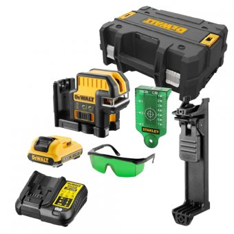DEWALT DCE0825D1G-GB 10.8V 5 SPOT CROSS LINE GREEN LASER WITH 1 X 2.0AH BATTERIES