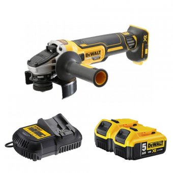 DEWALT DCG405P2-GB 18V XR BRUSHLESS 125MM ANGLE GRINDER WITH 2 X 5.0AH LI-ION BATTERIES