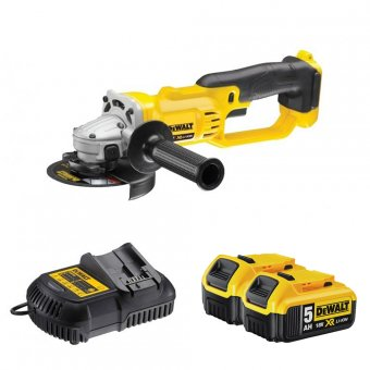 DEWALT DCG412P2 18V 125MM CORDLESS ANGLE GRINDER WITH 2 X 5.0AH BATTERIES