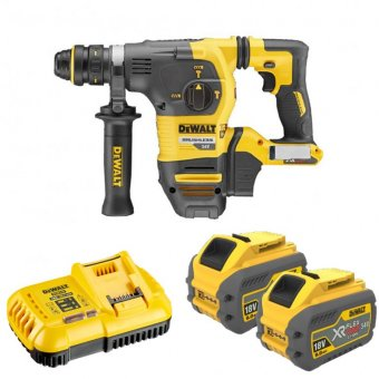 DEWALT DCH334X2-GB 54V SDS PLUS HAMMER DRILL WITH 2 X 9.0AH LI-ION BATTERIES
