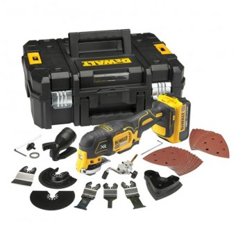 DEWALT DCS355M1 18V XR BRUSHLESS MULTI TOOL WITH 1 X 4.0AH LI-ION BATTERY AND 35 PIECE ACCESSORY SET