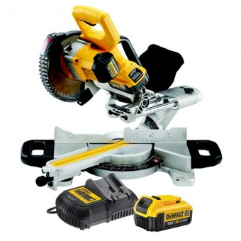 DEWALT DCS365M2 18V XR CORDLESS MITRE SAW WITH 2 X 4.0AH BATTERIES