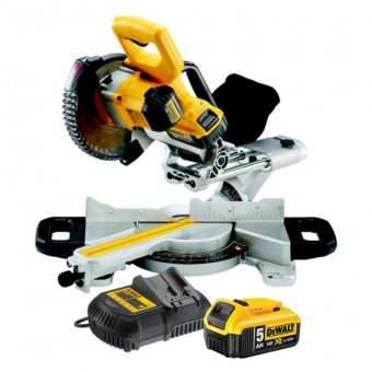 DEWALT DCS365P2 18V XR CORDLESS MITRE SAW WITH 2 X 5.0AH BATTERIES