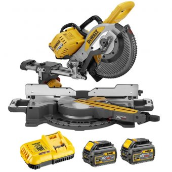 DEWALT DCS727 54V FLEXVOLT 250MM DOUBLE SLIDE MITRE SAW WITH 2X54V 6.0AH BATTERIES & FAST CHARGER