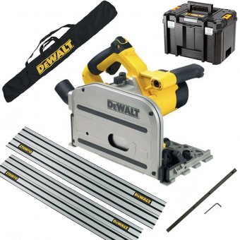 DEWALT DWS520KT 240V 165MM PLUNGE SAW KIT WITH 2 X 1.5M GUIDE RAILS, GUIDE RAIL CONNECTOR, RAIL BAG AND CASE