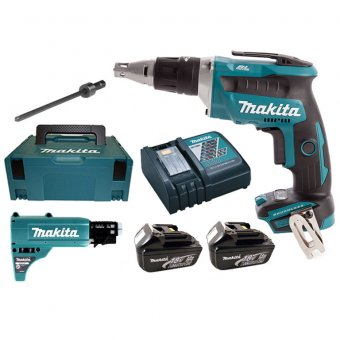 MAKITA DFS452FJX2 18V BRUSHLESS DRYWALL SCREWDRIVER, AUTOFEED ATTACHMENT WITH 2X3.0AH BATTERIES & MAKPAC CASE