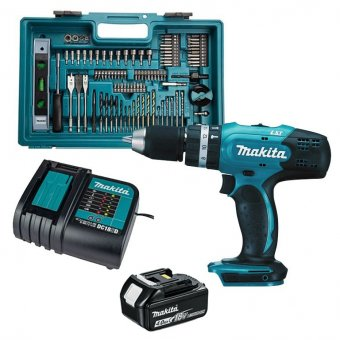 MAKITA DHP453SFTK 18V LXT COMBI DRILL WITH 4.0AH BATTERY, CHARGER AND 101 PIECE ACCESSORY BIT SET IN DRILL CASE