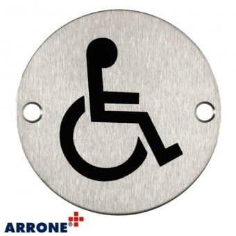 SATIN STAINLESS STEEL DISABLED SYMBOL DOOR SIGN