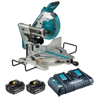 Makita DLS110TJ 5.0AH Twin 18v LXT BL Slide Compound Mitre Saw
