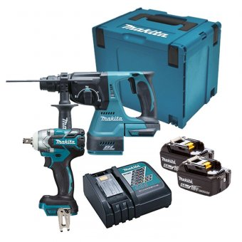 MAKITA 18V TWIN PACK BRUSHLESS COMBI KIT 2X5.0AH BATTERIES & MAKPAC CASE