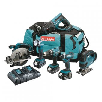 MAKITA DLX6068PT 18V 6 PIECE COMBO KIT WITH 3 X 5.0AH LI-ION BATTERIES AND DOUBLE CHARGER