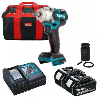 MAKITA DTW285TX2 18V BRUSHLESS LI-ION IMPACT WRENCH WITH 2 X 5.0AH BATTERIES, CHARGER, BAG AND SOCKET