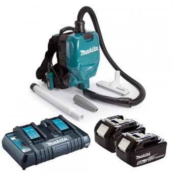 MAKITA DVC260 CORDLESS BACKPACK VACUUM CLEANER WITH 2 X 5.0AH BATTERIES AND DOUBLE CHARGER