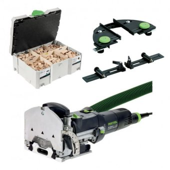 FESTOOL DOMINO DF500 Q-PLUS JOINING MACHINE WITH DOMINO ASSORTMENT SET, SLAT STOP AND CROSS STOP (240V)