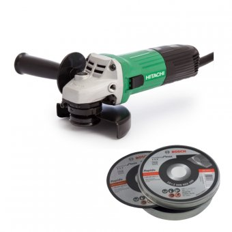 HITACHI G12STXCD 115MM ANGLE GRINDER WITH 10 X BOSCH 115MM THIN CUTTING DISC