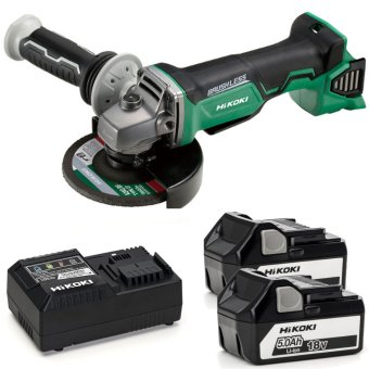 HIKOKI G18DBALJJZ 18V BRUSHLESS ANGLE GRINDER WITH 2 X 5.0AH BATTERIES