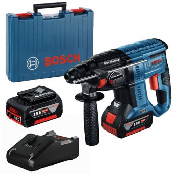 BOSCH 0611911172 GBH 18V-21 PROFESSIONAL BRUSHLESS CORDLESS ROTARY HAMMER WITH SDS PLUS KIT INCLUDED 2X4.0AH BATTERIES, CHARGER AND CASE.