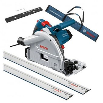 BOSCH GKT55GCE 165MM PLUNGE SAW WITH 2 X 1.6M GUIDE RAILS, GUIDE RAIL CONNECTOR AND GUIDE RAIL BAG