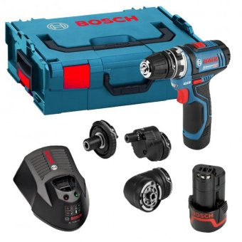 BOSCH GSR 12V-15 FC 10.8V FLEXI-CHUCK DRILL DRIVER WITH 2 X 2.0AH BATTERIES AND 4 CHUCKS