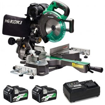 HIKOKI C3607DRAJGZ 36V 2 X 2.5AH/5.0AH MULTIVOLT 185M SLIDE COMPOUND MITRE SAW