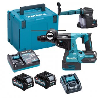 MAKITA HR004GD202 40V MAX XGT BRUSHLESS QCC SDS PLUS ROTARY HAMMER DRILL WITH 2 X 2.5AH BATTERIES, DX14 DUST EXTRACTION MAKPAC KIT