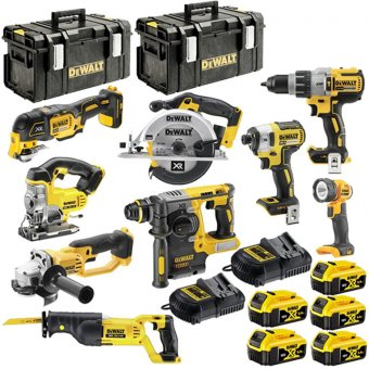 DEWALT 18V XR 9 PIECE KIT WITH 5 X 5.0AH LI-ION BATTERIES AND 2 X TOUGH SYSTEM BOXES