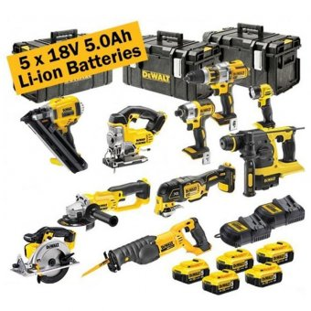 DEWALT 18V XR 10 PIECE KIT WITH 5 X 5.0AH LI-ION BATTERIES, 2 CHARGERS AND 3 X TOUGH SYSTEM BOXES