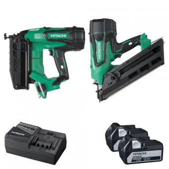 HITACHI KTN218S/JJ 18V LI-ION BRUSHLESS NAILER TWIN PACK WITH 2 X 5.0AH BATTERIES